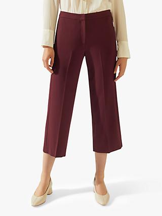 Jigsaw Modern Crepe Crop Straight Trousers, Mulberry
