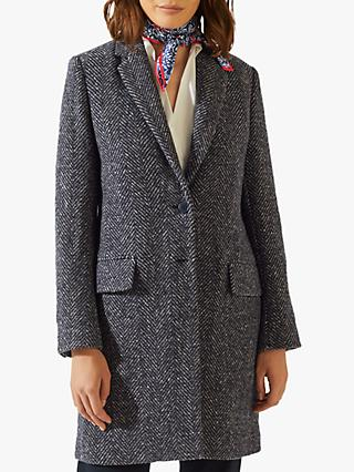 Jigsaw Single Breasted Herringbone City Coat, Navy