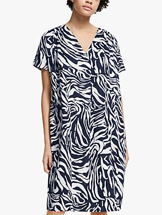 John Lewis & Partners Marble Print Tuck Dress, Navy