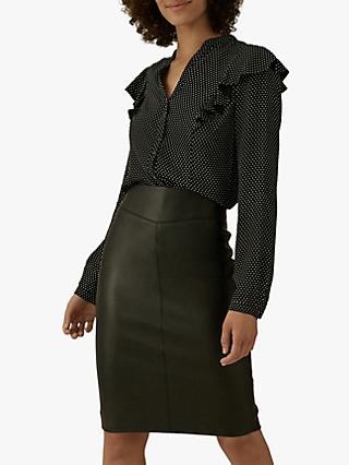 Karen Millen Faux Leather Pencil Skirt, Black