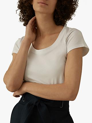 Karen Millen Scoop Neck T-Shirt, White