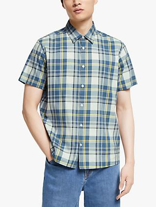 Kin Neon Check Short Sleeve Shirt, Blue
