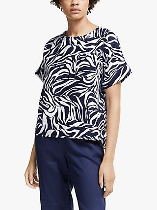 John Lewis & Partners Linen Shell Top, Navy/White