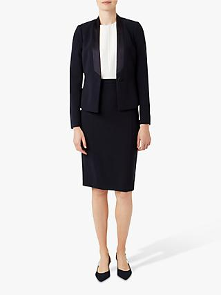 Hobbs Mina Satin Jacket, Navy