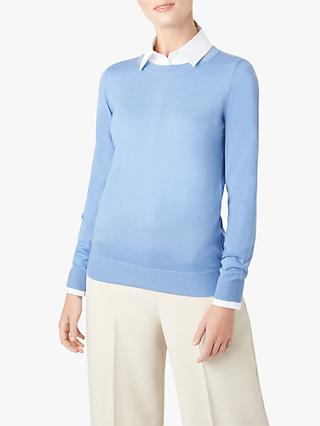 Hobbs Penny Knitted Merino Wool Sweater, Soft Blue