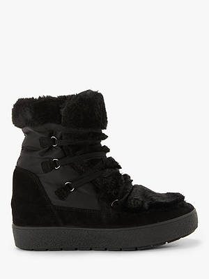 Buy John Lewis & Partners Peake Concealed Wedge Faux Fur Snow Boots, Black, 3 Online at johnlewis.com