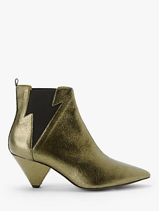 AND/OR Robbin Leather Lightning Bolt Ankle Boots, Gold