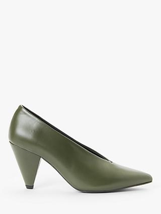 Kin Ansa Leather Cone Heel Court Shoes, Khaki