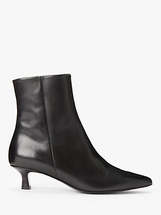 John Lewis & Partners Pierce Kitten Heel Leather Ankle Boots, Black