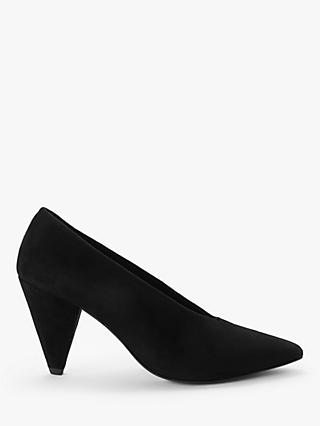 Kin Ansa Suede Cone Heel Court Shoes, Black