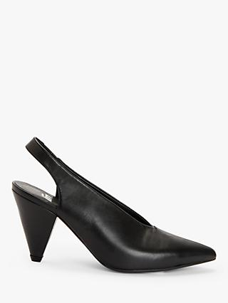 Kin Alba Leather Cone Heel Slingback Court Shoes, Black