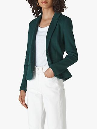 Whistles Slim Jersey Jacket, Dark Green