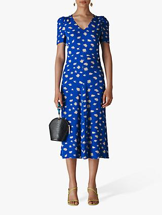 Whistles Scattered Daisy Print Midi Dress, Blue/Multi