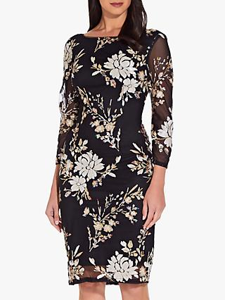 Adrianna Papell Floral Embellished Dress, Black/Multi