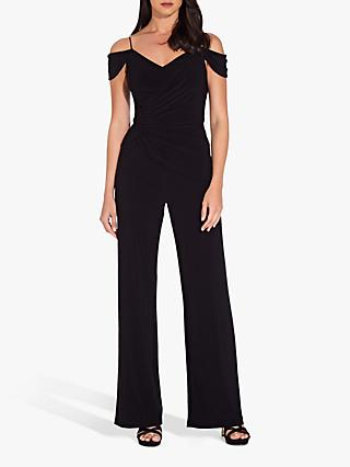 Adrianna Papell Shirred Wrap Jersey Jumpsuit, Black