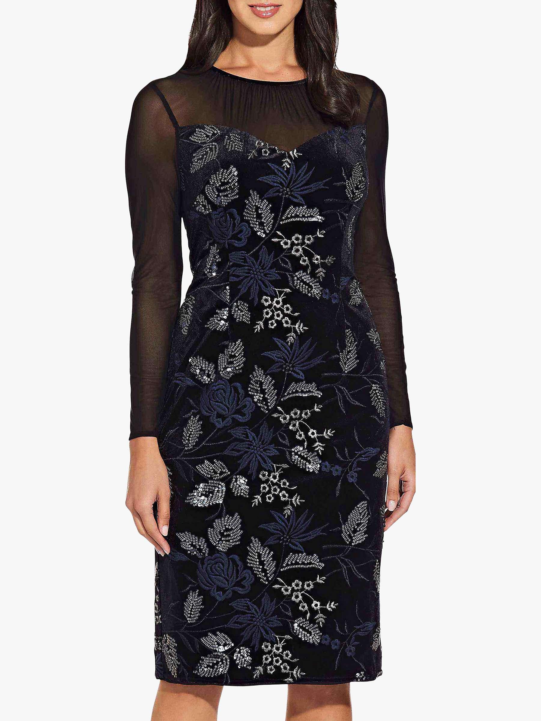Adrianna Papell Natalia Floral Lace Dress Blacknavy