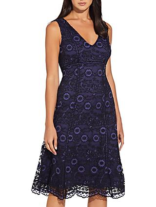 Adrianna Papell Natalia Lace A Line Midi Dress, Navy/Black