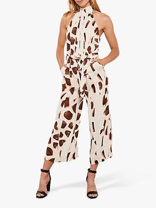 Mint Velvet Millie Giraffe Halter Jumpsuit, Neutral/Multi