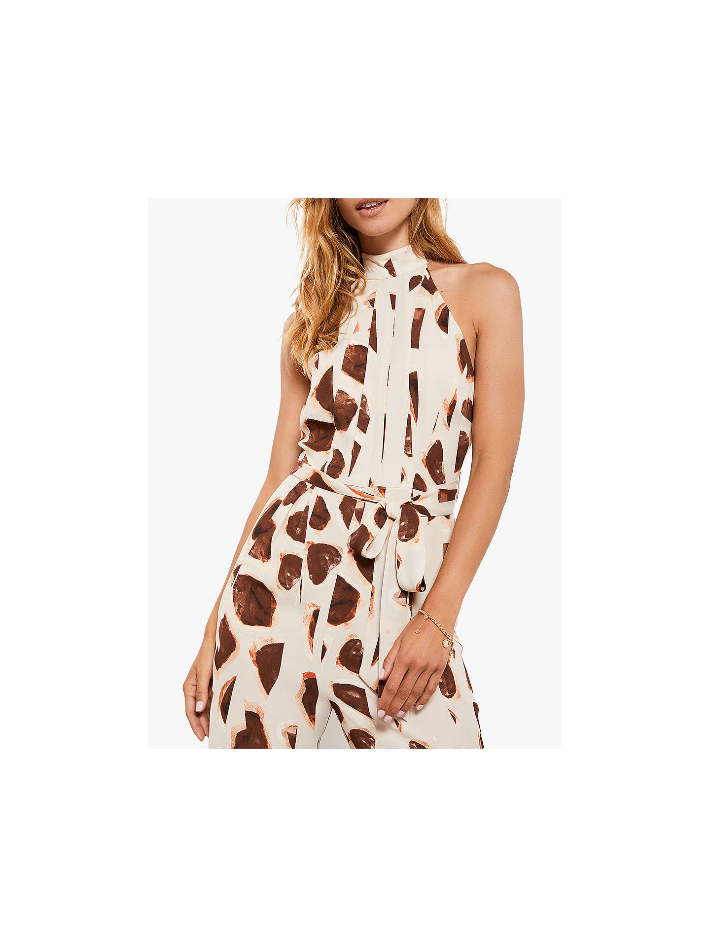 Buy Mint Velvet Millie Giraffe Halter Jumpsuit, Neutral/Multi, 14 Online at johnlewis.com