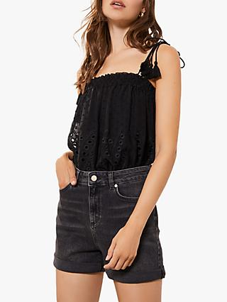 Mint Velvet Denim Turn Up Shorts, Black