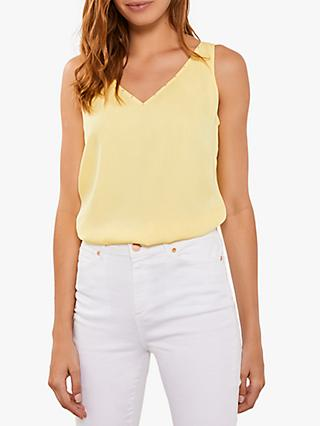 Mint Velvet Beaded V-Neck Cami Top, Yellow