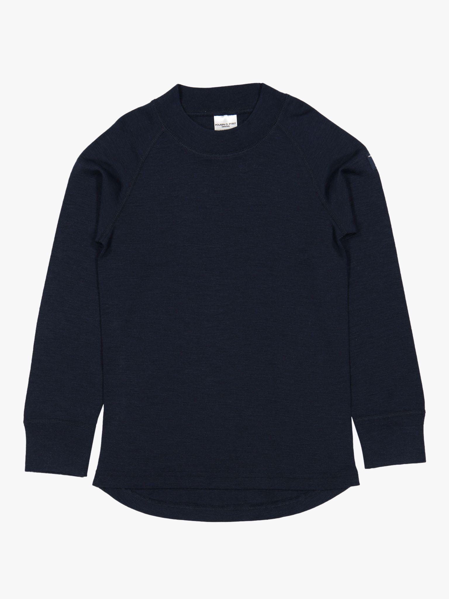 Polarn O. Pyret Polarn O. Pyret Children's Merino Wool Long Sleeve Top, Dark Sapphire
