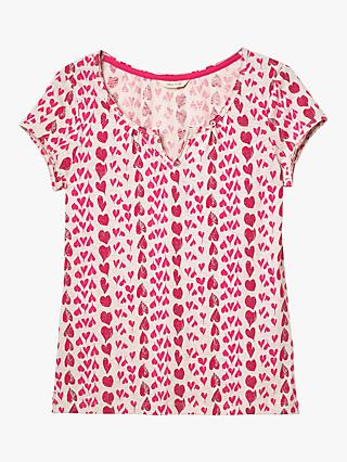White Stuff Bloom Fairtrade Jersey T-Shirt, Festival Pink Print
