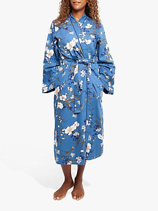 Cyberjammies Heather Floral Print Dressing Gown, Blue
