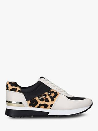 MICHAEL Michael Kors Georgie Leather Trainers, White/Leopard