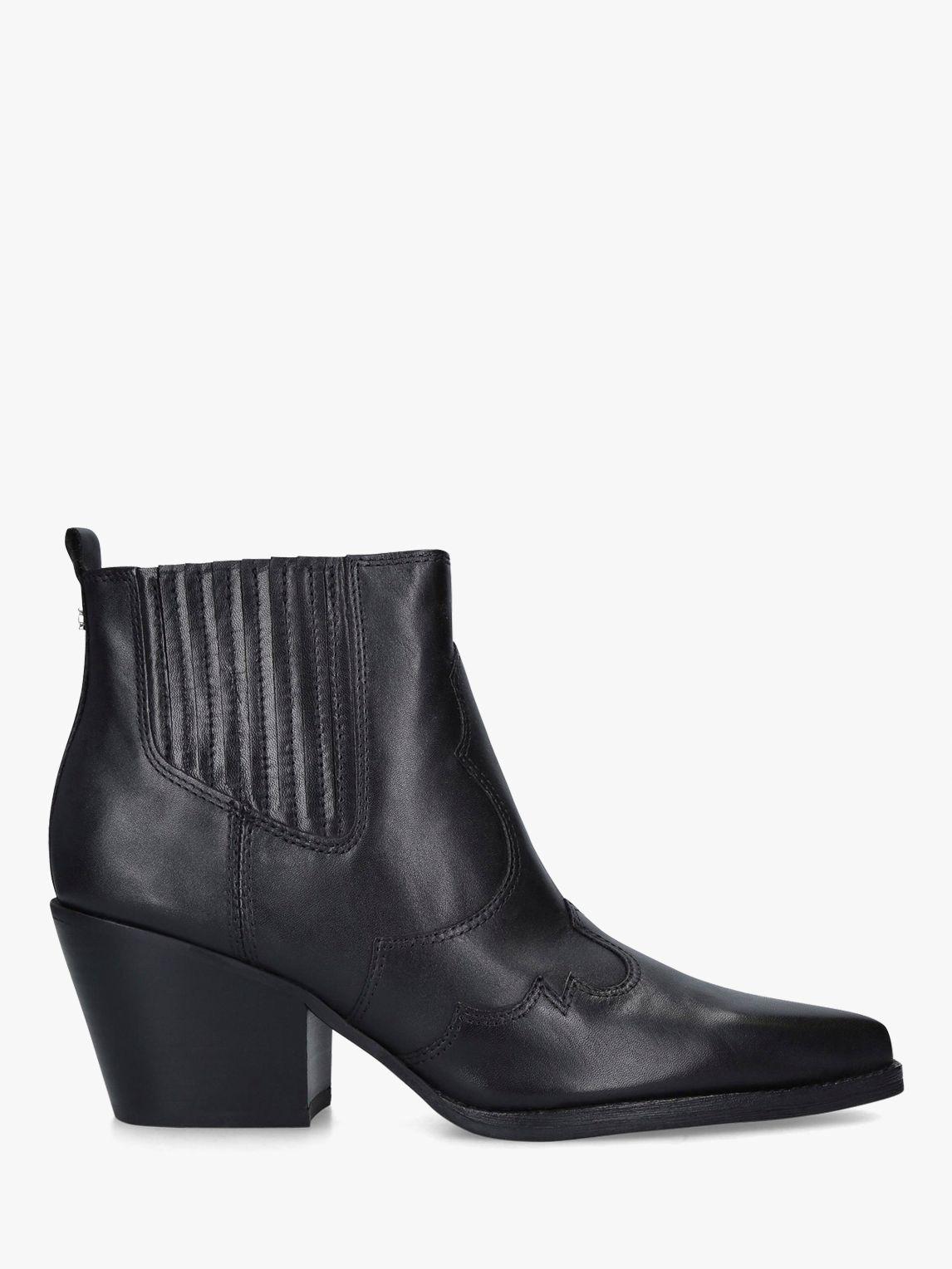 Sam Edelman Sam Edelman Winona Block Heel Leather Cowboy Boots, Black