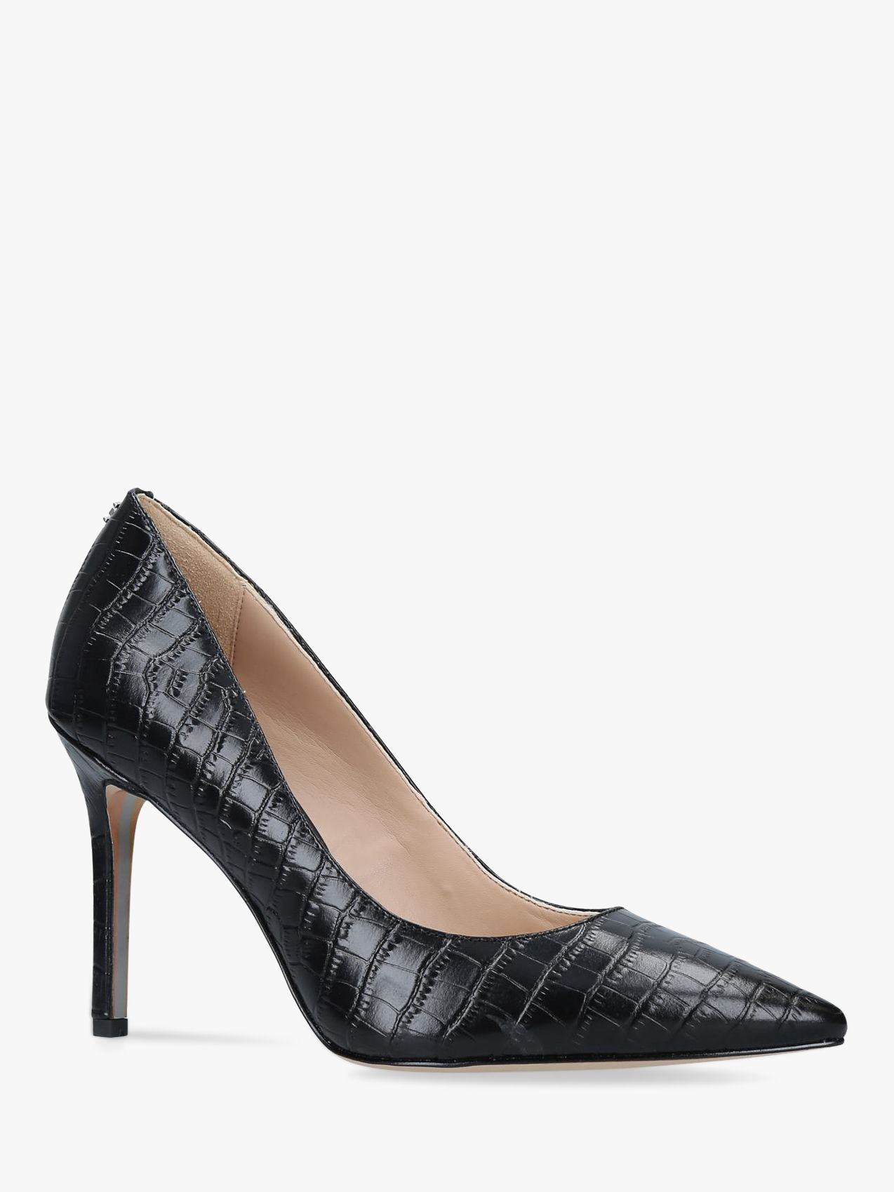 Sam Edelman Sam Edelman Hazel Leather Croc Stiletto Heel Court Shoes, Black