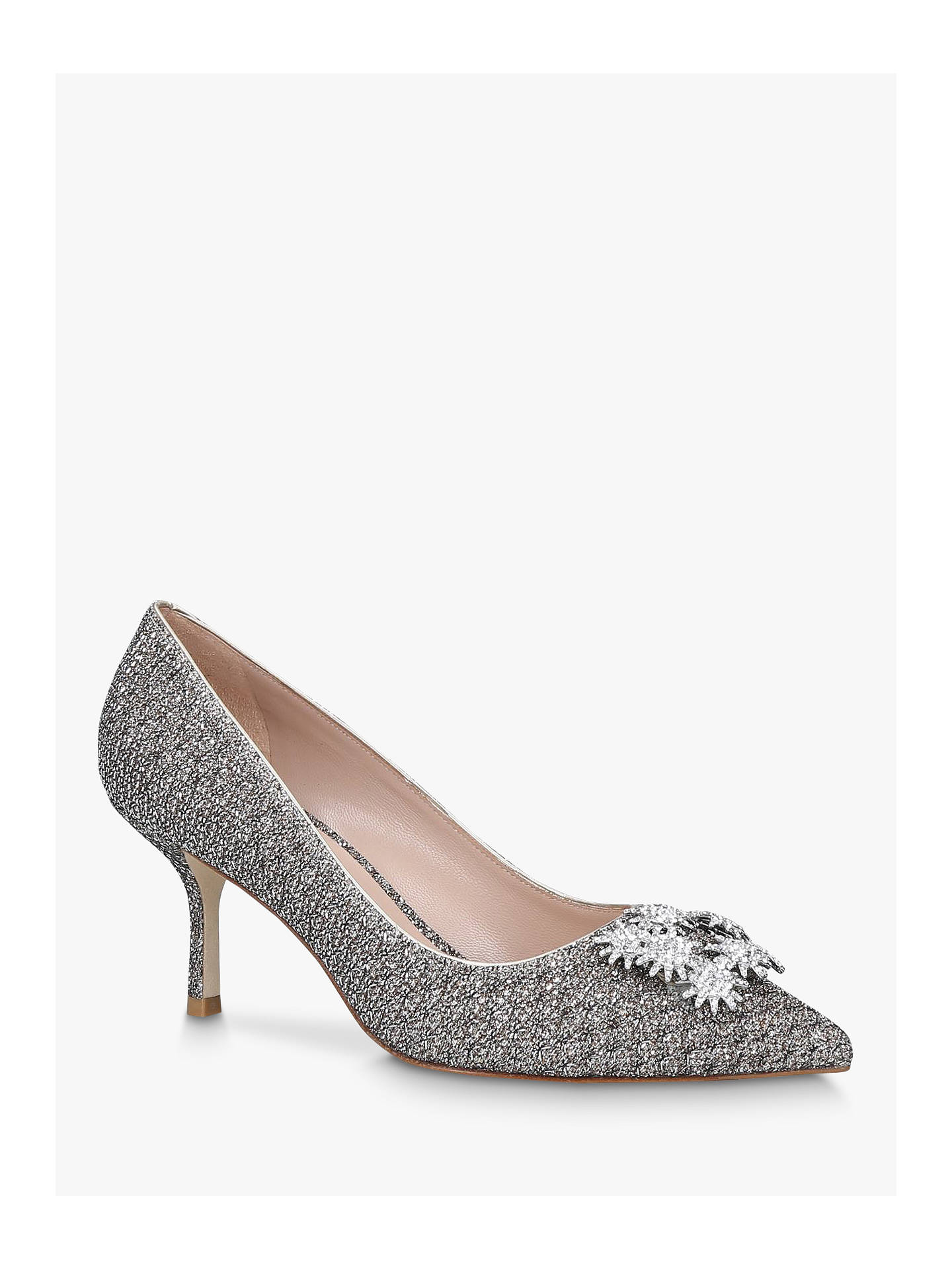 Buy Stuart Weitzman Kelsey Strass Lamé Embellished Court Shoes, Champagne, 3 Online at johnlewis.com