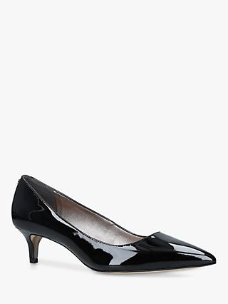 Sam Edelman Dori Kitten Heel Leather Court Shoes, Black Patent