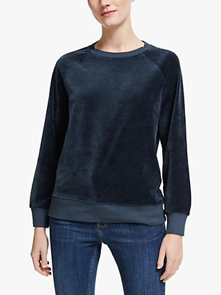 Collection WEEKEND by John Lewis Raglan Velour Sweatshirt, Navy
