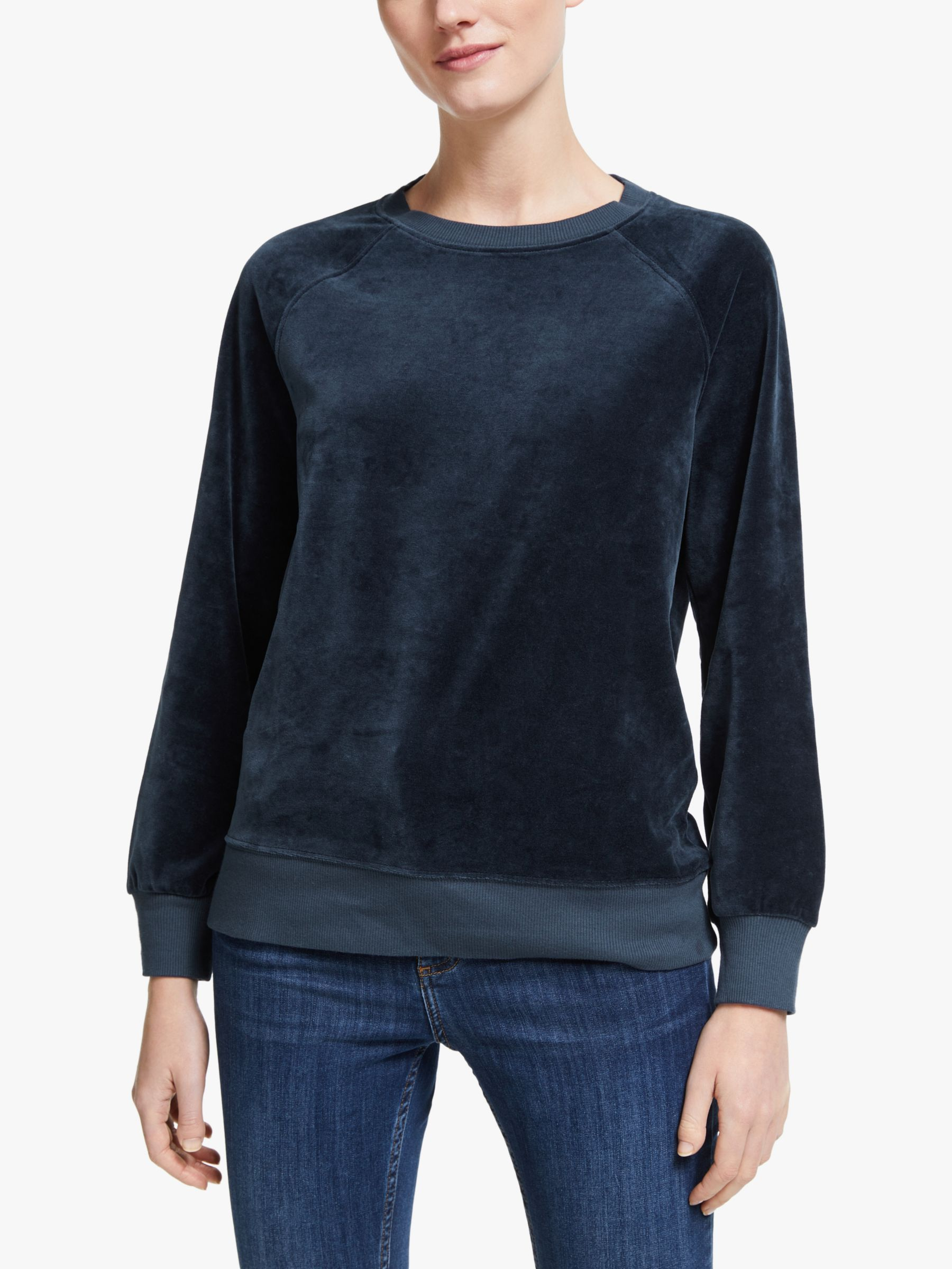 Collection WEEKEND by John Lewis Collection WEEKEND by John Lewis Raglan Velour Sweatshirt, Navy