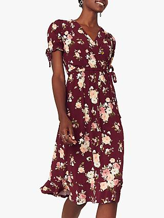 Oasis Erin Wrap Midi Dress, Burgundy