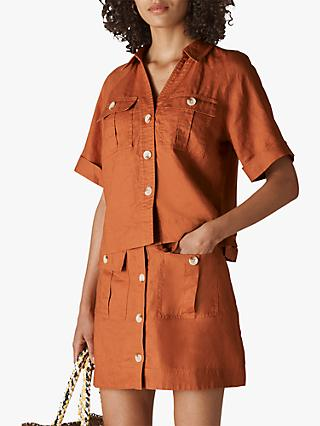Whistles Eldora Linen Pocket Shirt, Rust
