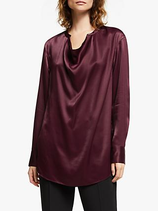 Modern Rarity Satin Cowl Neck Top, Red
