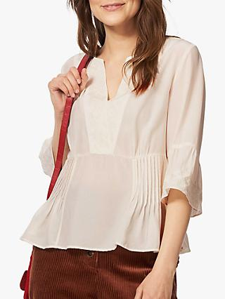 Brora Embroidered Silk Blouse, Ivory