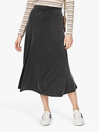 Brora Cupro Blend Midi Skirt, Bitter Chocolate