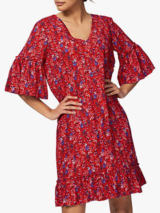 Brora Floral Print Dress, Chilli/China Blue