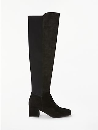 John Lewis & Partners Stephanie Suede Over The Knee Boots, Black