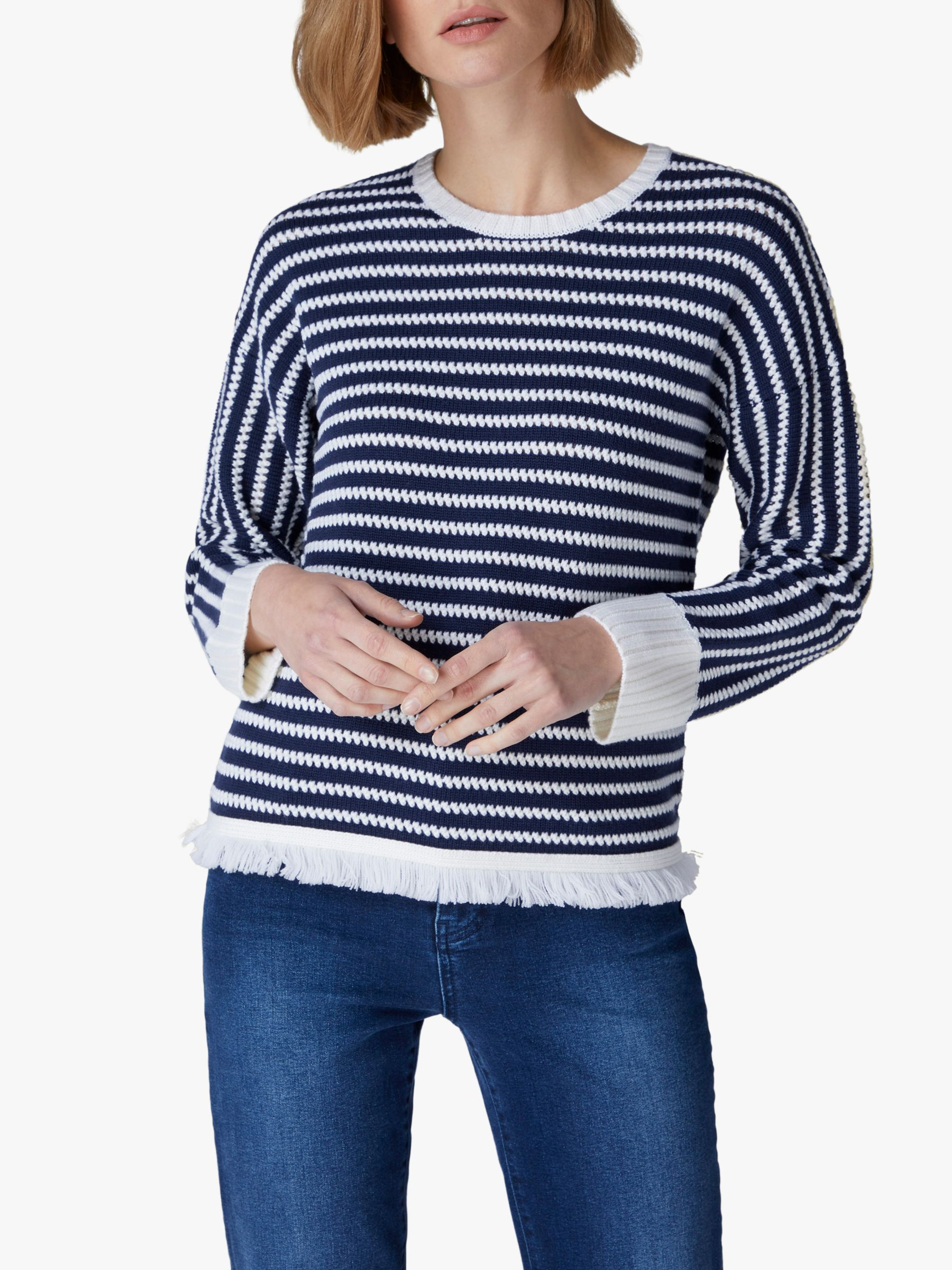 Jaeger Jaeger Stripe Knit Jumper, Blue/White