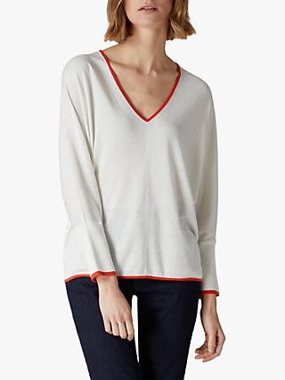 Jaeger Silk Blend Contrast V-Neck Sweater, Ivory