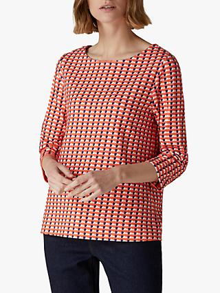 Jaeger Geometric Cotton Blend Jersey Top, Red Multi