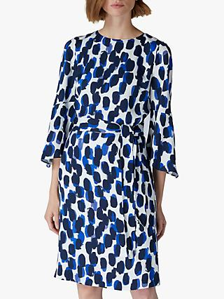 Jaeger Smudge Flared Sleeve Dress, Blue