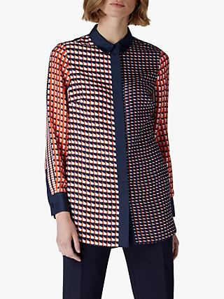 Jaeger Geometric Silk Shirt, Red/Multi