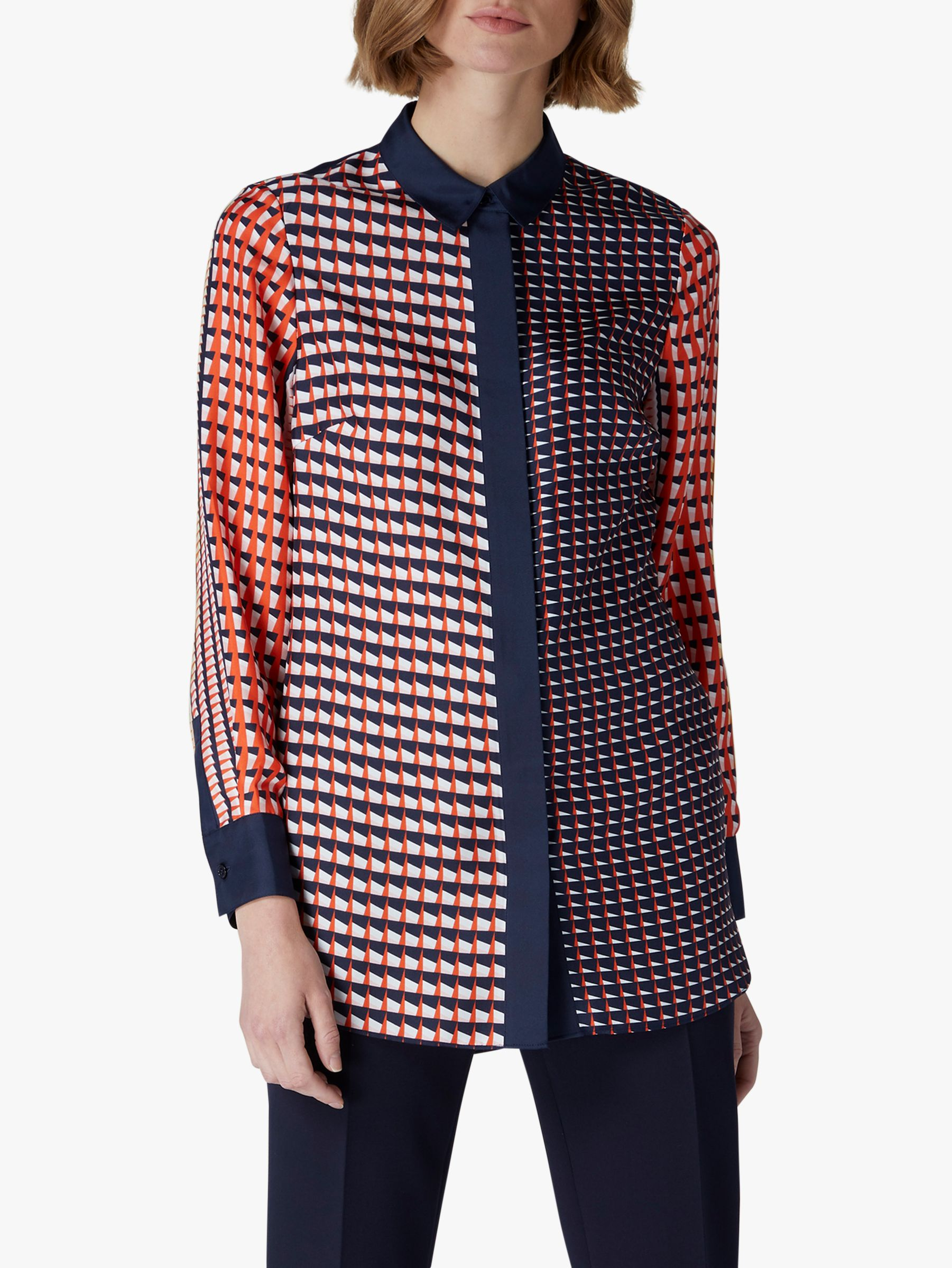 Jaeger Jaeger Geometric Silk Shirt, Red/Multi