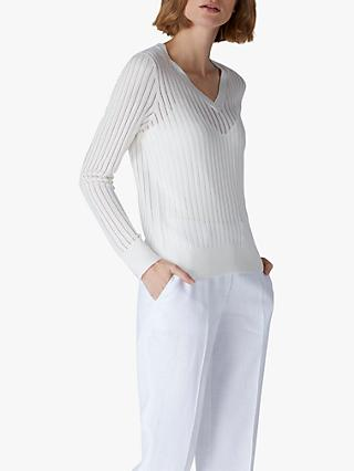 Jaeger Ladder Detail Knit Jumper, Ivory