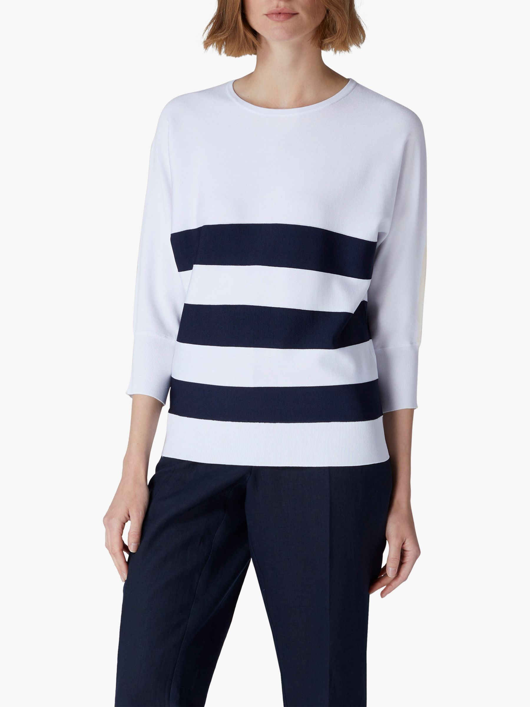 Jaeger Jaeger Striped Batwing Top, Navy
